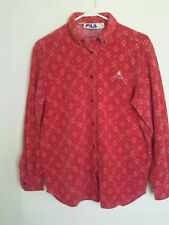 Women FILA Sport Button Up Red Snow Flakes No -Pocket Soft Fleece Jacket Pink 6