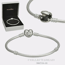 "Authentic PandoraSilver Bracelet with Pandora Heart Clasp 7.5"" Hinged Box 590719"