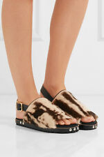 MARNI women Fussbett leather -trimmed printed goat hair sandals. sz. IT38 (US39)