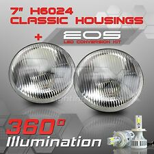 H6024 7 Round Sealed Beam Headlight Housing - H4 LED Kit 6000K White (B)