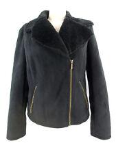 Chaps Faux Suede Jacket Short Coat Black Super Soft Faux Fur Lining Women's M