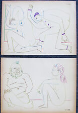 PICASSO - TWO (2) ORIGINAL LITHOGRAPHS FROM HUMAN COMEDY - 1954 - SPECIAL $ 240