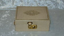 Antique White Wooden w/Paper Covering Jewelry Box w/latch & gold colored details