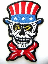 """UNCLE SAM SKULL NEW, 3"""" X 2"""" EMBROIDERED MOTORCYCLE PATCH SEWN/IRON ON"""