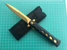 Assisted Opening Tactical Folding Golden Hunting Camping Rescue Knife With Pouch