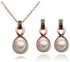 Bridal Vintage White Pearl and Gold Jewellery Set Drop Earrings Necklace S582