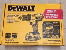 """DEWALT DCD771C2 20V Lithium-Ion Compact 1/2"""" Drill/Driver Kit with 2 Batteries"""