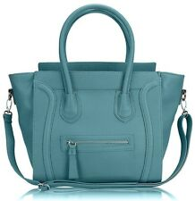 Miss Lulu Leather Style Shoulder Handbag Ladies Light Blue Large Tote Bag Gift