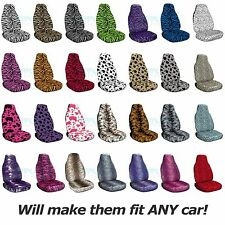 Animal Print Car Seat Covers (Front, Semi-custom) Zebra/Cow/Leopard/Tiger/Bug+