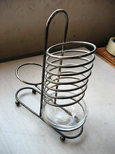 """Used 6-slot Metal Sorter 9""""x3.5""""x3"""", w/bowl for paper clips, Made in France"""