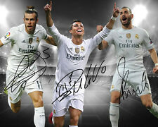 Cristiano Ronaldo Gareth Bale Benzema Real Madrid Signed Photo Autograph Reprint