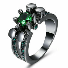 5MM Skull Ring Size 6 Green Emerald Crystal Lady's 18k Black Gold Filled Free