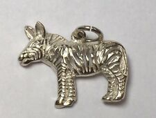 INTRICATE STERLING SILVER ZEBRA CHARM PENDANT AFRICAN ANIMAL DONKEY