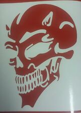 Devil Skull - Red revs Car Van Window Laptop Vinyl graphics sticker Decal Tribal