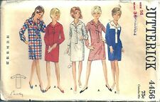 4456 Butterick Sewing Pattern Slim Step-in Shirtdress Size 16 1960's
