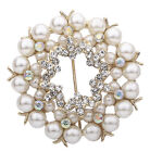 Dazzing White Butterfly Gold Plated Crystal Pearl Brooch Pin Charm Jewelry