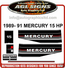 1989 1990 1991 MERCURY 15 HP OUTBOARD MOTOR DECAL SET