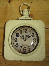 Vintage Style Square Wall Clock, Cream, Industrial, Station, Rustic