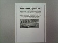 1962 Pontiac Tempest cost/dealer retail sticker pricing for car + options--62