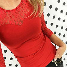 Womens Sexy V-Neck Lace Crochet Tee Lady Long Sleeve Stretch T-Shirt Tops Blouse