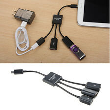 3 in 1 Micro USB HUB Male to Female Duel USB 2.0 Host OTG Adapter Cable New