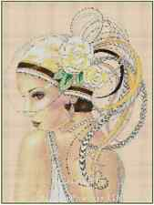 Counted Cross Stitch ART DECO LADY in Yellow Hat COMPLETE KIT- No.1vb-4 KIT