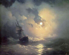 Stormy Sea At Night Painting Sailboat Lighthouse Moon Real Canvas Art Print