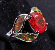 "Sterling 925 Silver SF Size 5 Ring Orange Lab Fire Opal & Orange Garnet 1/2"" W"