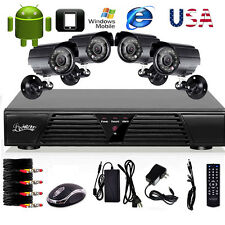HD 4 CHANNEL Home Video Surveillance CCTV DVR Security System Day Night Camera Z