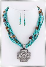 Western Silver Concho Cross Turquoise Seed Bead Necklace Set