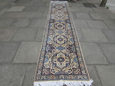 Fine Traditional Hand Made Persian Wool Silk Cream Blue Carpet Runner 391x87cm