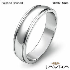 Plain Dome Step High Polish Ring Men Wedding Solid Band 5mm 14k White Gold 4.9g