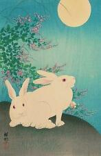 2 BUNNY RABBITS LOOKING AT THE MOON, FROM JAPANESE PRINT BY OHARA KOSON, MAGNET