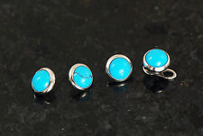 4 Pc 14g 4MM Natural Turquoise Stone Dermal Anchor Heads 14g(1.6mm)