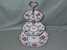 JGS Foley Field Poppy Bone China 3-Tier Hostess Cake Plate Stand