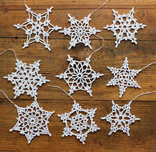 9 Crochet Snowflakes Handmade Christmas tree decoration Rustic Shabby Chic