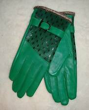 Ladies Genuine Green Leather Gloves Peacock Premium Quality Warm Fur Lining S