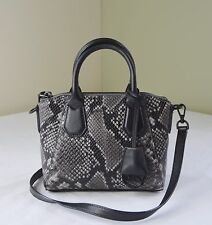 Michael Kors Steel Grey Python Embossed Leather Campbell XS Satchel Crossbody