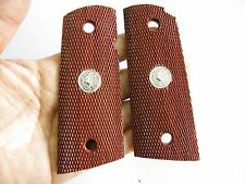 NEW CHECKERED ROSE WOOD GRIP COLT OFFICER 1911 COMPACT SIZE FREE SHIP NO 6