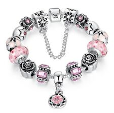 Luxury European Silver Charms Bracelet Chain DIY With Pink Bead Ajustable Gift