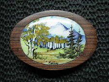 HAND PAINTED NATURE SCENE WOOD BELT BUCKLE! VINTAGE! RARE! MARLOW! HAND MADE!