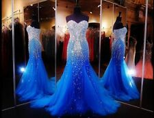 2017 Tulle Mermaid Crystal Beading Prom Dresses Long Evening Pageant Bridal Gown