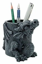 Adorable Dragon Statue Figurine Desk Top Utility Pencil Pen Holder Stationary