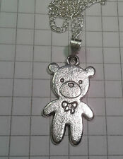 "TIBETAN SILVER ""SOLID TEDDY BEAR  ON SILVER PLATED CHAIN NECKLACE 18""o r 20"""