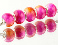 5pcs SILVER MURANO Gradient spacer beads fit European Charm Bracelet DIY AB929