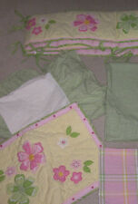 6pc Pottery Barn Kids Crib Bedding Bumper & Curtains Green Gingham Pink Flowers