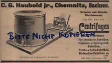 CHEMNITZ, Werbung / Anzeige 1902, C.G.Haubold jr. Centrifugen aller Systeme
