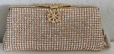 Swarovski Crystal Beaded Evening Clutch Handbag Purse - Gold - New!