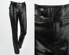 MOSCHINO JEANS BLACK FAUX LEATHER PANTS SKINNY STRAIGHT Size 6