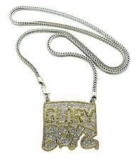 "NEW ICED OUT HIP HOP GLORY BOYZ PENDANT & 4mm/36"" FRANCO CHAIN NECKLACE XP932"